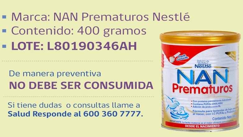 Alerta Alimentaria por Presencia de Moho en Fórmula NAN Prematuros